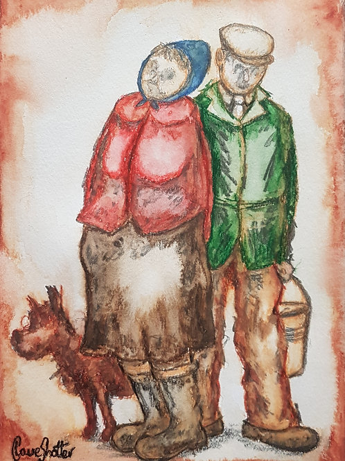 Original naive painting by Claire Shotter. Farmer and farmer's wife.