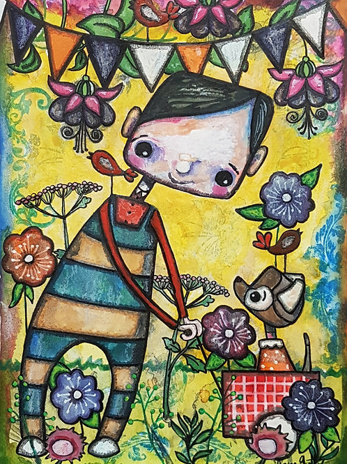 Original naive folk art painting by Claire Shotter. Boy. Dog. Quirky