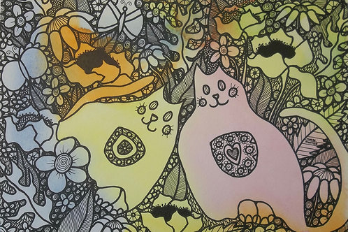 """Painting By Claire Shotter. """"Cats In The Flower Bed"""". Naive Original"""