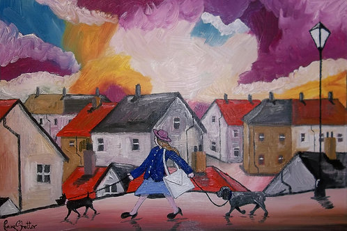 Original Oil Landscape Painting By Claire Shotter. Streets. Houses. Dogs