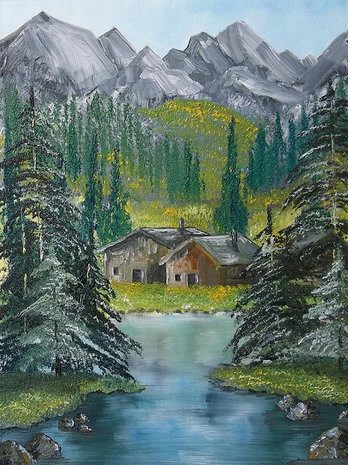 Original Oil Painting By Claire Shotter. Large Landscape. Mountains. Trees