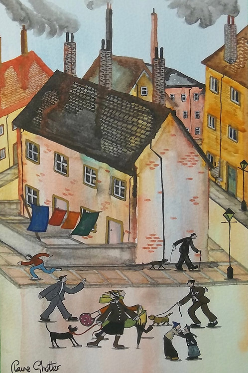 Original Painting By Claire Shotter. Street Scene. Kids. Dogs.
