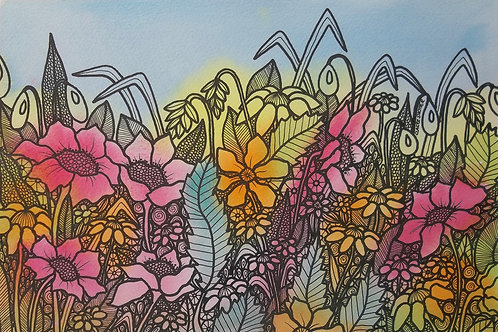 "Painting. ""The Flower Bed"". Naive Original By Claire Shotter."