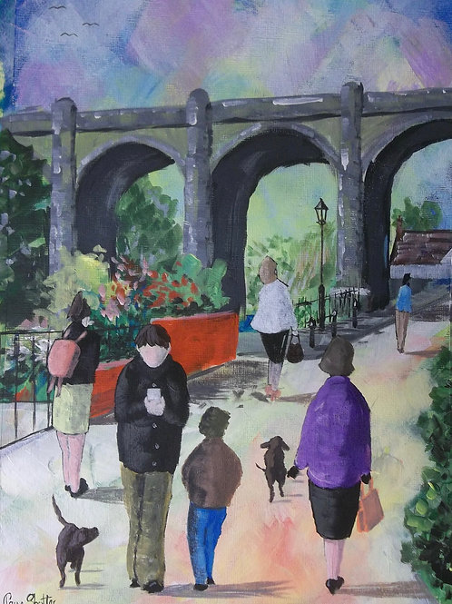 "Naive street scene painting. ""Waterside, Knaresborough"" by Claire Shotter"