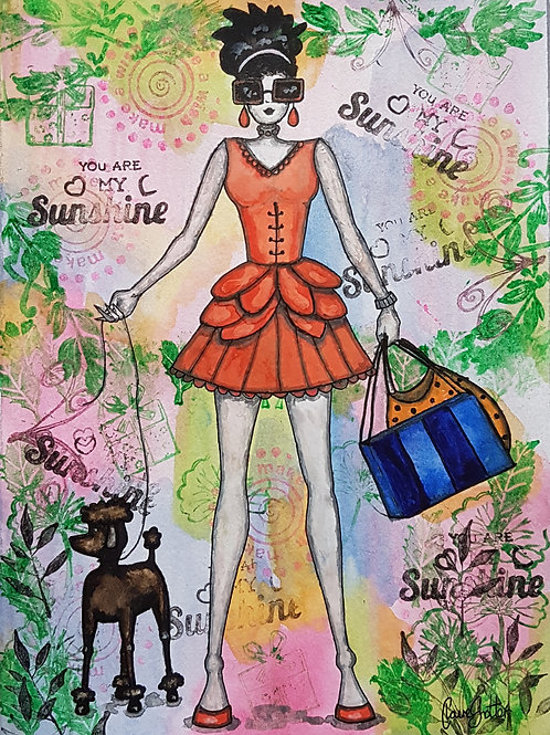 Original mixed media art painting by Claire Shotter. Fashion girl with Poodle