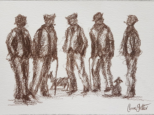 Original naive sketch/drawing by Claire Shotter. Northern men in flat caps. Dogs
