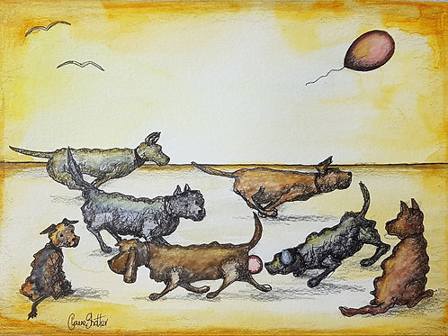 Original Naive Joyful Dogs Painting By Claire Shotter