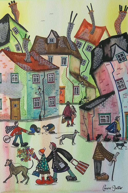 Original watercolour painting by Claire Shotter. Street Scene