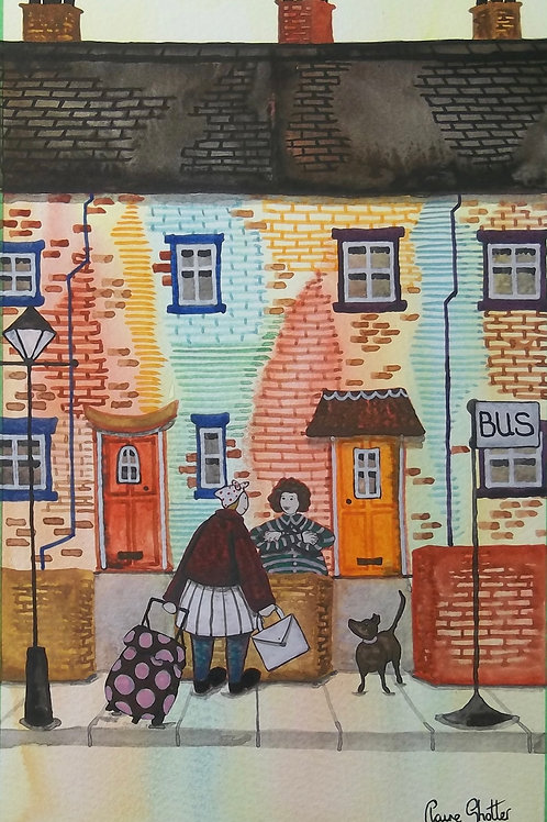 Original Naive Watercolour Painting By Claire Shotter. Street Scene