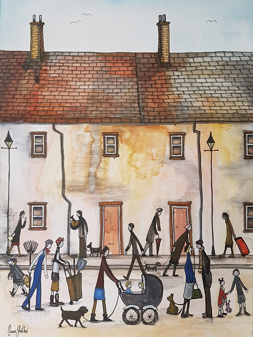 Original Naive Northern Street Scene By Claire Shotter.  Houses. People. Dogs