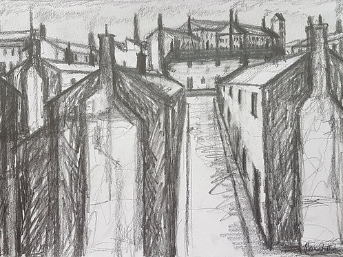 Original Northern Art sketch by Claire Shotter. Industrial town. Streets. Houses