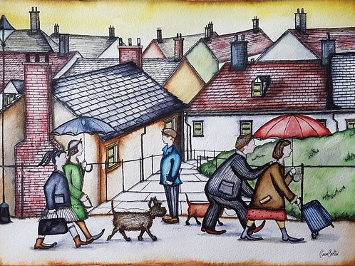 Original Naive Northern Art Painting By Claire Shotter. Houses. Town. People.