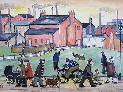 Original Naive Northern Street Scene Painting By Claire Shotter. House. People.