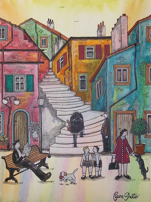 Original Watercolour Landscape Painting By Claire Shotter. Streets Scene. Dogs.