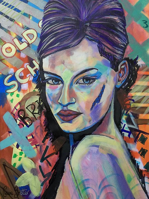 "Original urban art abstract portrait painting. ""Old school"" by Claire Shotter"