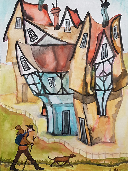 Original Naive Houses Painting by Claire Shotter. Dogs. Hiker. Houses