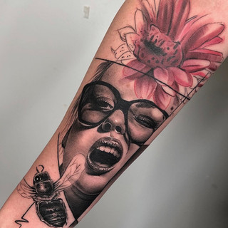 Girl and flower tattoo