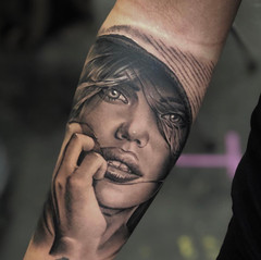 Girls face tattoo