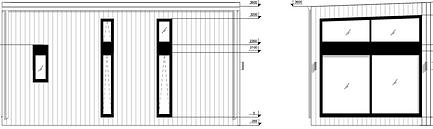 SVEG cabin LIVINWOOD voor- en zijaanzich