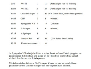 Zeiteinteilung Vereinsturnier 2019