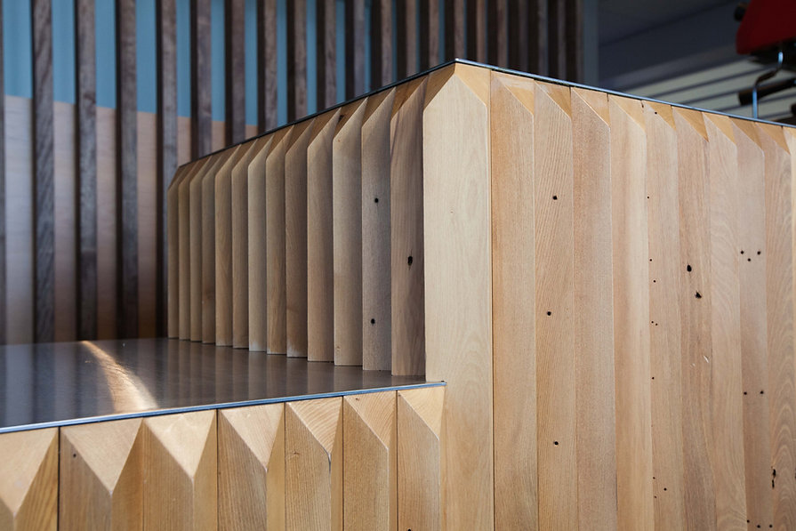 Tait Cafe | Hamish Shaw Architects | HSA | Commercial Cafe | Soft Fitout | Workplace Stategy | Tait Limited | Christchurch | Shopfront | Detail | Symmetry | Angular | Timber |