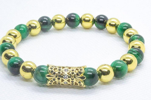 Gold Hematite & Green Tiger Eye Beads