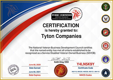 2020 NVBDC SDVOB Certified - Tyton Compa