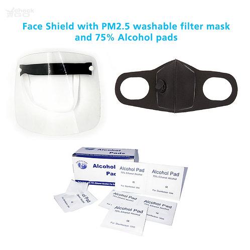 Gelaatsscherm met filtermasker en alcohol pads