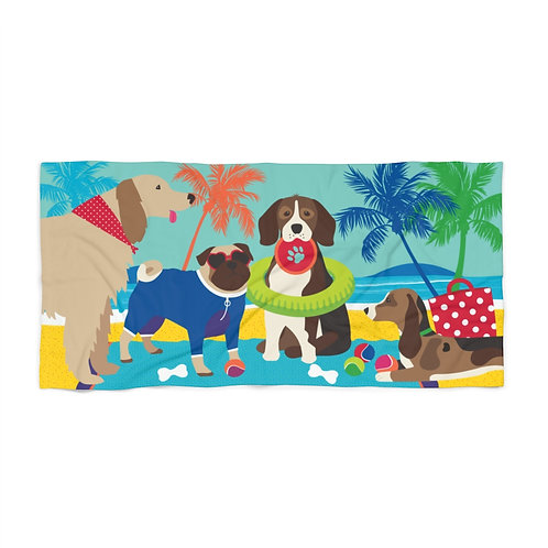 Dogs Playing at the Beach // Beach Towel