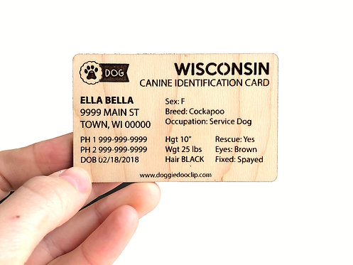 CANINE IDENTIFICATION CARD (all states are available)