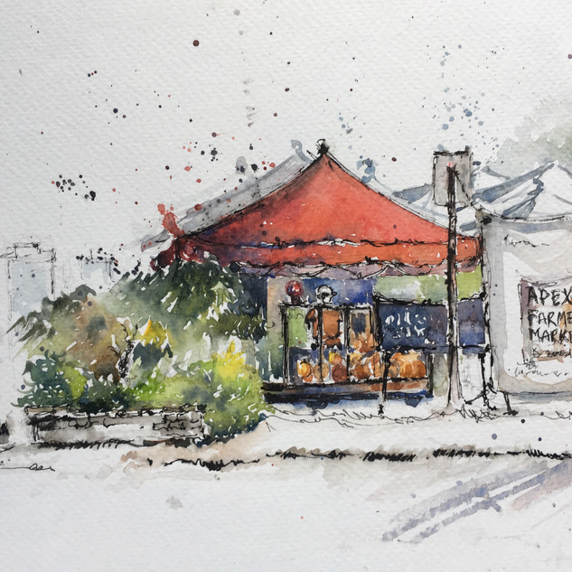 Apex Farmers market on a Rainy Day
