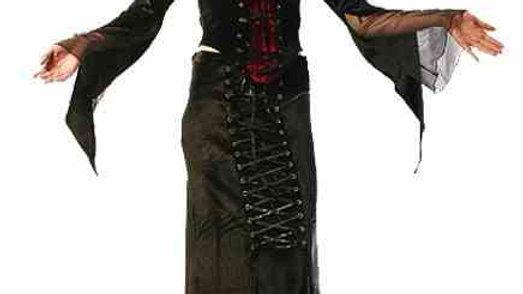 1379  Lace up long velvet skirt