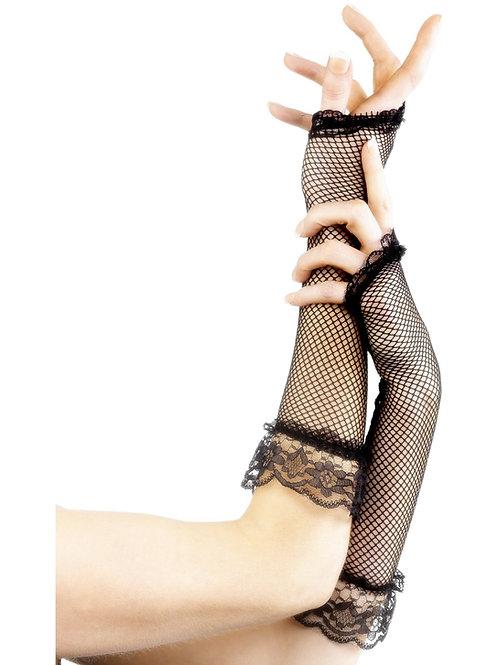Fingerless black Fishnet Gloves