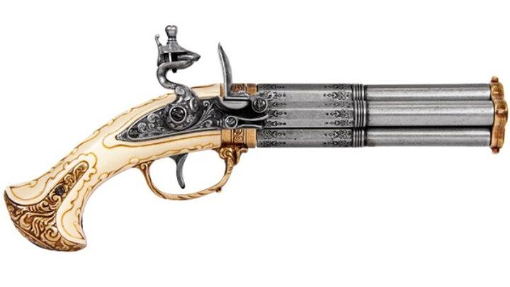 Brass And Grey Revolving 4 Barrel Flintlock Pistol