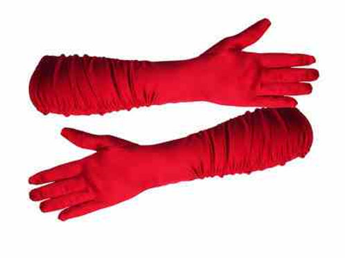 Long red satin gloves  FO60
