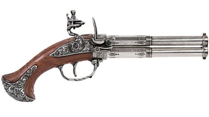 Revolving 2 Barrel Flintlock Pistol, France 18Th. C.