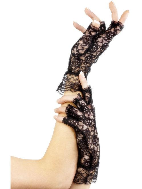 Fingerless black lace gloves