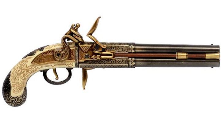 Double Barrelled Flintlock Pistol