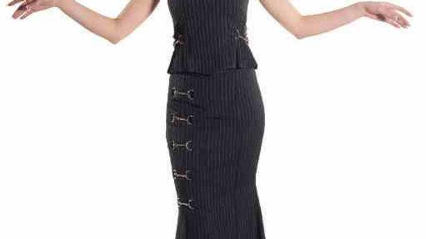 4004 Long Gothic pinstripe skirt