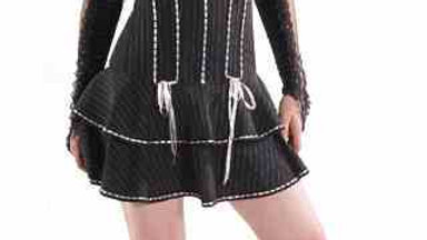 4135 Pinstriped Corset Dress