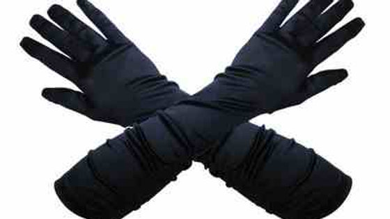 Long black satin gloves FX060