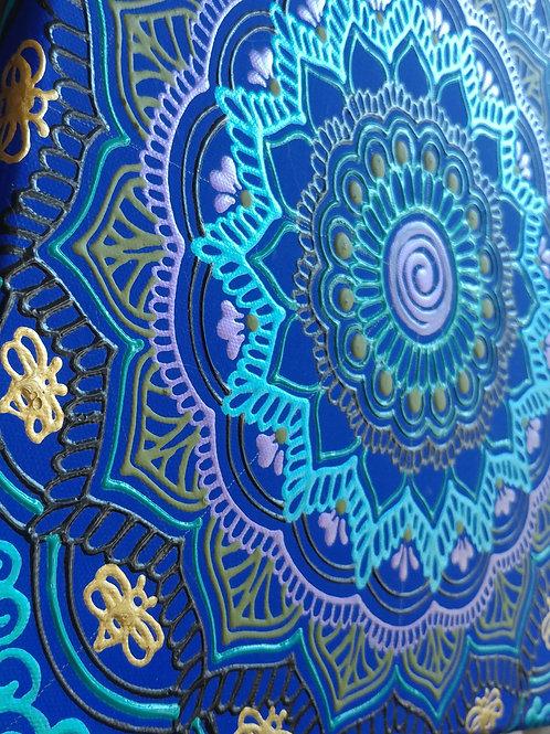 12x12 Blue Bees Original Mandala