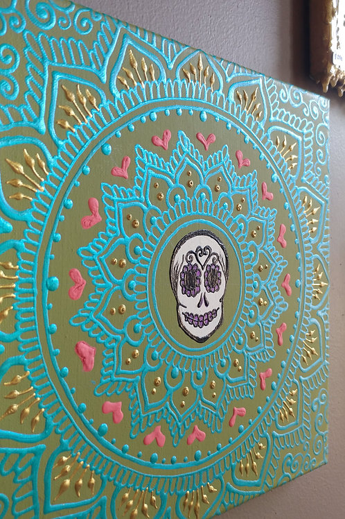 12x12 DOTD Sugar Skull Mandala Original Canvas