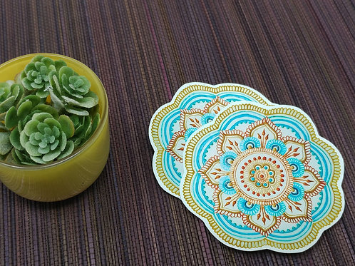 Teal and Copper Mandala Vinyl Sticker