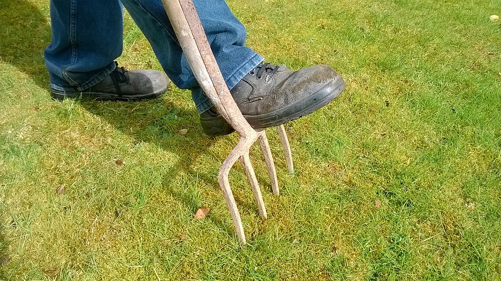 Foot stepping on pitch fork in lawn