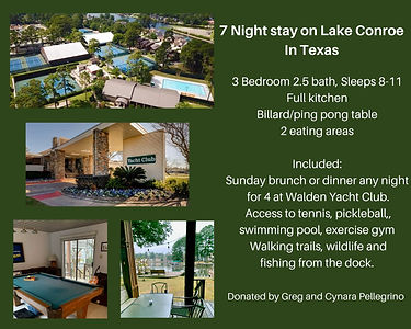 a18-7 night stay on Lake Conroe in Texas