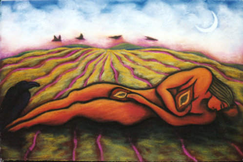 * Figure Resting in Field with Figs *