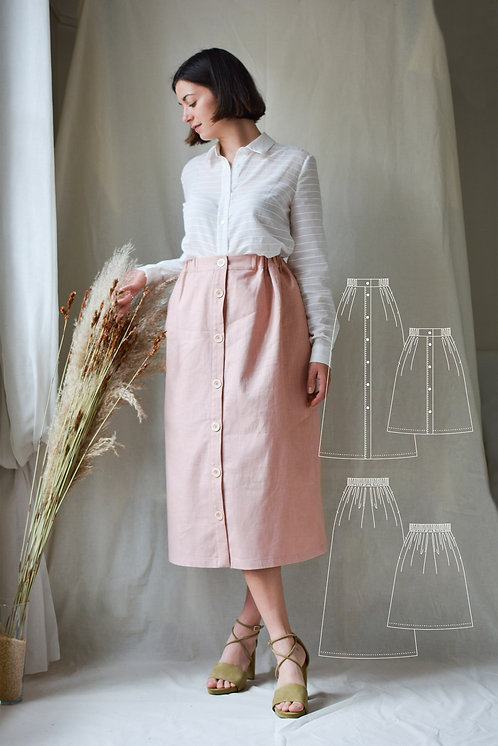 sewing-pattern-skirt-with-elastic-waistband