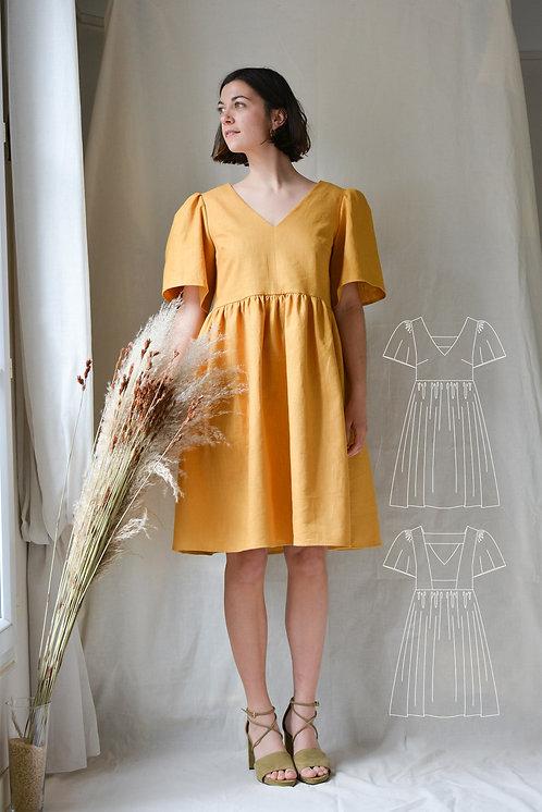 sewing-pattern-yellow-dress-sewing
