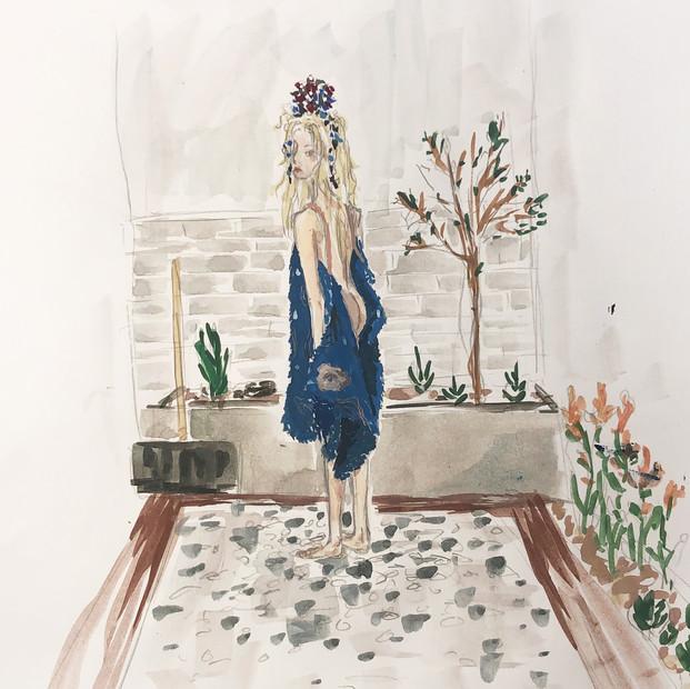 Her garden, the white sky